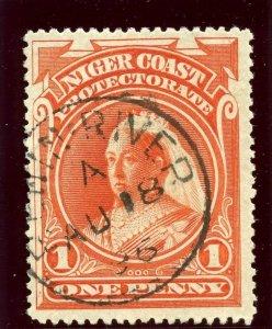 Niger Coast 1894 QV 1d vermilion (p14½-15) very fine used. SG 52a. Sc 44.