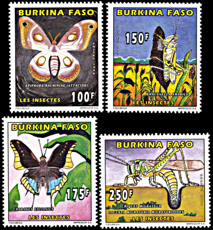 Burkina Faso 1065-1068, MNH, Butterflies and Insects
