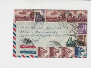 Egypt 1956 Airmail Multiple Planes & Men Stamps Cover Ref 35089