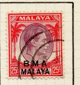Malaya Straights Settlements 1945 Early Shade of Used 25c. BMA Optd 307962