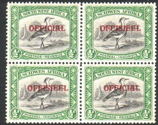 SOUTH WEST AFRICA 1945-50 ½d OFFICIAL block of 4 MNH SG018 cat £26........25641y