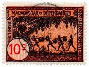 (I.B) France Colonial Revenue : Madagascar Duty 10c