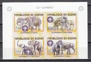 Guinea, Mi cat. 3406-3409 B. Elephants with Scout logo. IMPERF Block of 4