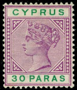 CYPRUS SG41, 30pa brt mauve & green, M MINT.