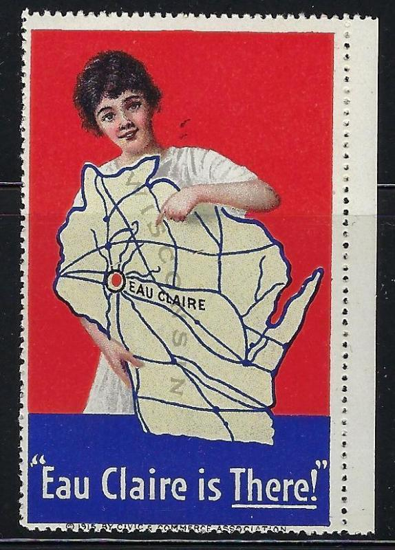VEGAS- Vintage Eau Claire, WI Is There Promotional Poster Stamp (CQ124)