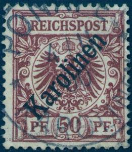 Germany 1900 Karolinen Caroline Islands 50pf Mi 6I 45 Degree OP PF Cert 84207