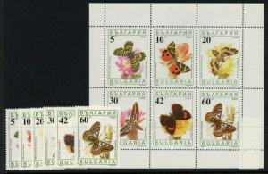 Bulgaria 3551-6a MNH - Flowers, Butterflies
