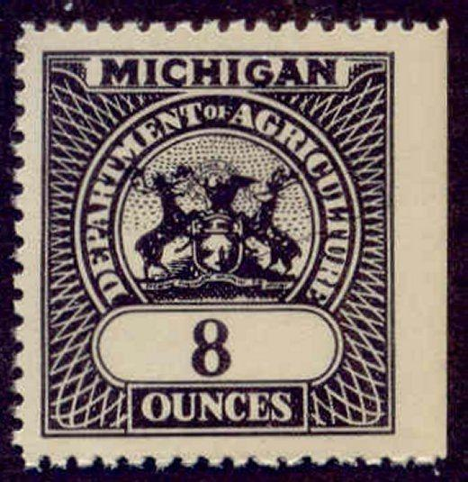 Michigan State Revenue Stamp 8oz Feed Inspection Tax # F7
