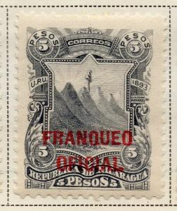 Nicaragua 1893 Early Issue Fine Mint Hinged 5P. Official Optd 323725