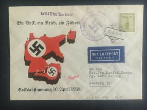 1938 Innsbruck Germany First Day cover FDC to Hamburg Elections