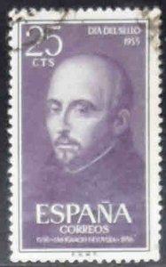 SPAIN Scott 836 Used St. Ignatius of Loyola stamp