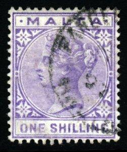 MALTA Queen Victoria 1890 One Shilling Pale Violet Wmk Crown CA SG 29 VFU