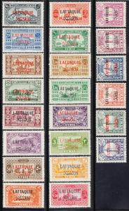 Latakia Stamps of Syria Ovpted (Scott # 1-22) MLH
