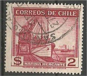 CHILE, 1938  used 2p ,Fishing Scott 207