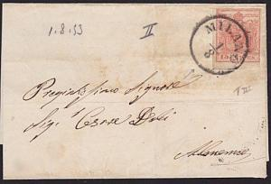 AUSTRIA ITALY 1853 15c imperf on small wrapper Milan to Almenno.............7404