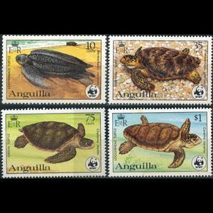 ANGUILLA 1983 - Scott# 537a-40a Turtles P.12 Set of 4 NH