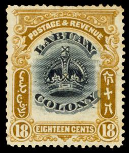 LABUAN 1902 18c BISTER BROWN & BLACK LINE THRU B VARIETY MINT #106 var. HR sl...