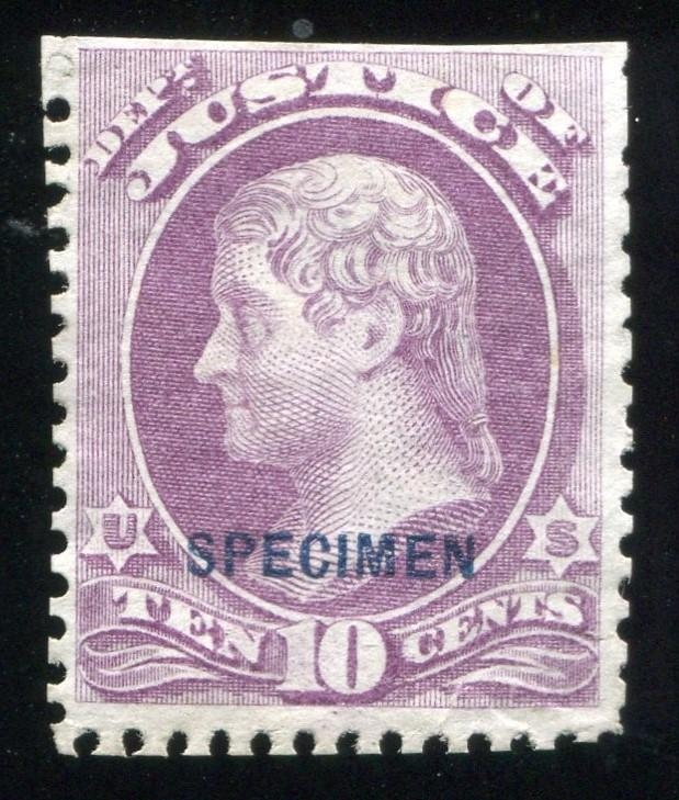 ​10c Justice, Specimen Ovpt. (O29S). Special Printing 1875 NGAI only 163  sold