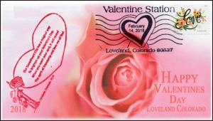 18-020, 2018, Valentines Day, Pictorial Postmark, Event Cover, Loveland CO