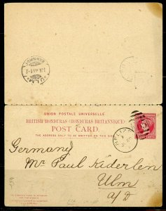 BRITISH HONDURAS BELIZE 7/20/1894 STATIONERY DOUBLE POSTCARD TO ULM 8/8 AS SHOWN