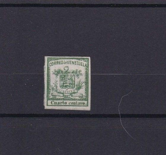 VENEZUELA 1862 IMPERF STAMP ¼ CENTAVO MOUNTED MINT  CAT £28  REF 6299