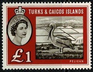 TURK & CAICOS Is. 1960 QE II £1 SEPIA & Dp RED UNUSED (MH) SG 253 Wmk.w12 VGC