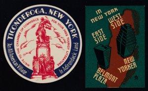 US Vintage New York Ticonderoga & In New York Cinderella Stamps