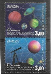 2009    BOSNIA  -  SG.  259 / 260  - EUROPA - ASTRONOMY  -  MNH