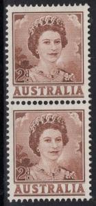 AUSTRALIA SG309a 1962 2d BROWN COIL PAIR MNH