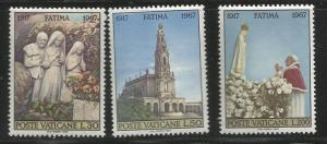 VATICAN CITY 455-457, MNH, C/SET OF 3 STAMPS, APPARITION OF THE VIRGIN MARY T...
