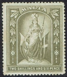 MALTA 1899 MALTA FIGURE 2/6 WMK CROWN CC