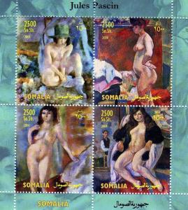 Somalia 2004 JULES PASCIN Nudes Paintings Sheet (4) Perforated Mint (NH)
