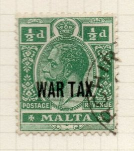 Malta 1917-18 Early Issue Fine Used 1/2d. War Optd 321542