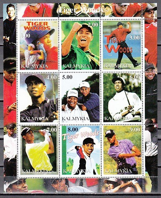 Kalmykia, 2001 Russian Local. Golfer Tiger Woods sheet of 9. ^