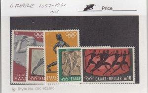J25841  jlstamps 1972 greece set mnh #1057-61 olympics, all checked & sound