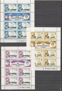 COLLECTION LOT # 4268 TUVALU #157-62 MNH 1981 SPECIMEN 3 SHEETS