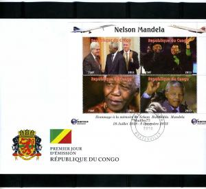 Congo 2013 NELSON MANDELA & BARACK OBAMA Sheet Perforated in official FDC