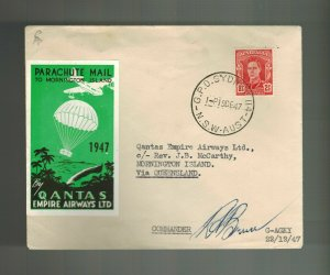 1947 Australia Parachute Mail to Mornington Island Signed by Pilot Qantas Empire