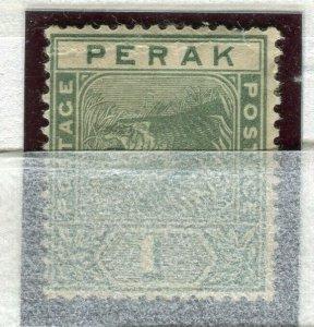 MALAYA PERAK; 1892 early classic Tiger issue Mint unused 1c. value