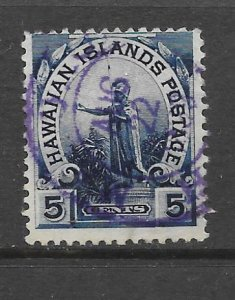 HAWAII Scott #82 Used 5c Statue w/Purple Cancel 2018 CV $4.00