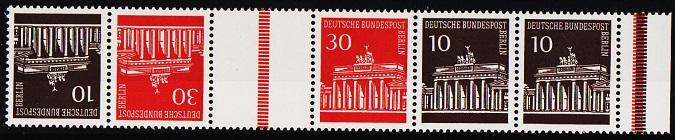 Germany(Berlin).1966 Strip of 5  S.G.B281 and B283 Unmounted Mint