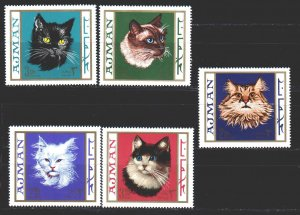 Ajman MNH 318B-22B Domestic Cats 1968 MEOW!!! MEOW!!!!