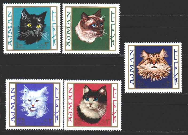 Ajman MNH 318B-22B Domestic Cats 1968 MEOW!!!! MEOW!!!!!