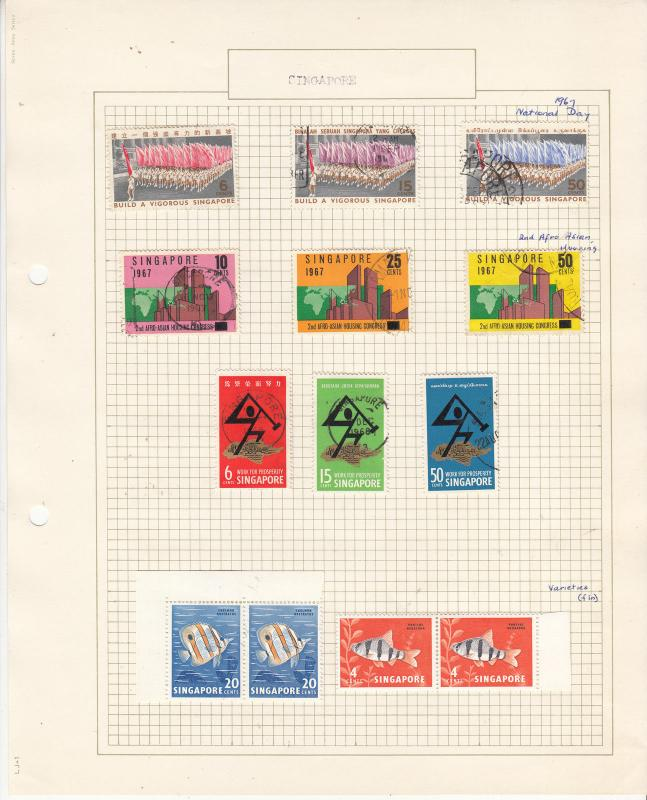 SINGAPORE 1962-68 Sets..Inc 20c FISH *FIN* Var. MUH/.FINE USED on Old Album Page