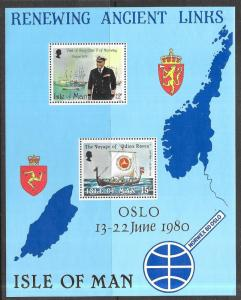 Isle of Man #176a MNH S/S CV$1.00 Oslo Olav Odin's Raven Ship Norwex