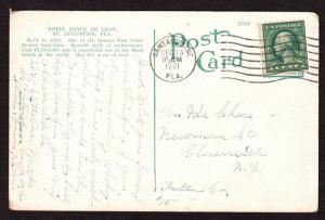 $Florida Machine Cancel Cover, Saint Augustine, 12/13/1921 7 wavy lines slope up