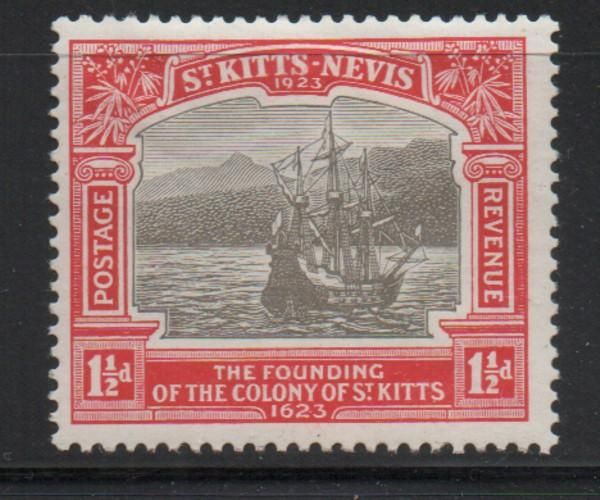 St Kitts Nevis Sc 54 1923 1 1/2d ship 300th Anniversary stamp mint