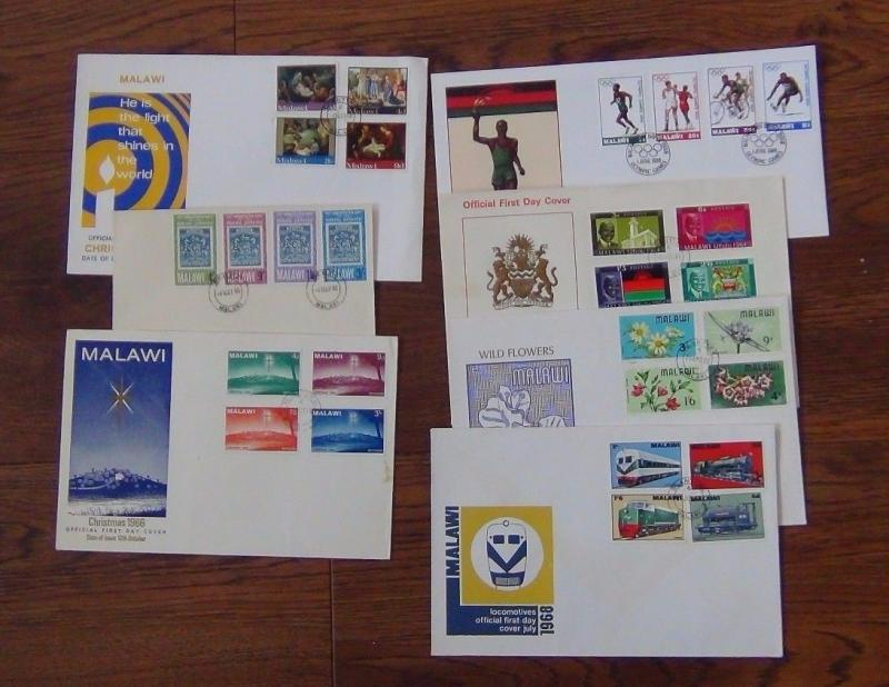 Malawi 1964 1984 7 FDC's Trains Xmas Post Olympics Flowers Independence etc