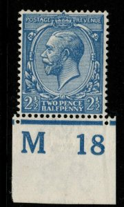 GB SGN21(3) M18 IMPERF 1913 2½d FRENCH BLUE MNH