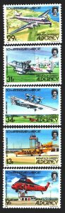 Alderney. 1985. 18-22. Cows, aviation. MNH.